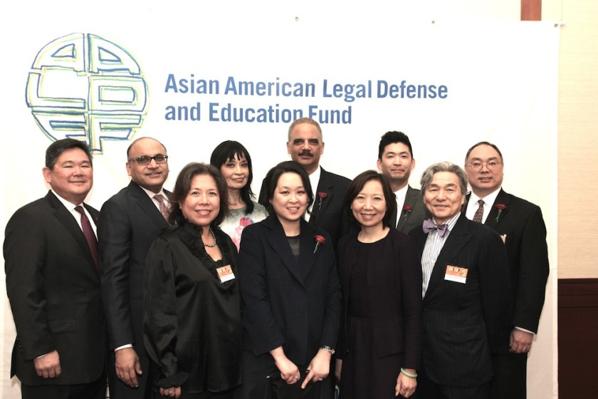 AALDEF board members Tommy Shi, Ayaz R. Shaikh, Irene Chang-Cimino, AALDEF Executive Director Margaret Fung, AALDEF 2016 Justice in Action Honorees Heidi C. Chen, Eric H. Holder, Phil Yu and board members Sandra Leung, Ko-Yung Tung and Denley Y. Chew. Photo by Lia Chang