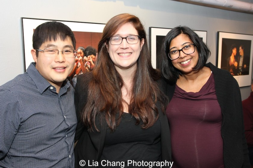 Producer Kelly Miller is flanked by playwrights Michael Lew and Rehana Lew Mirza. Photo by Lia Chang