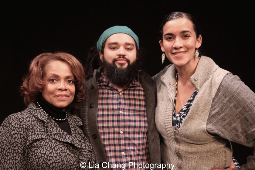 Denise Burse, playwright Nathan Alan Davis and director Patricia McGregor. Photo by Lia Chang