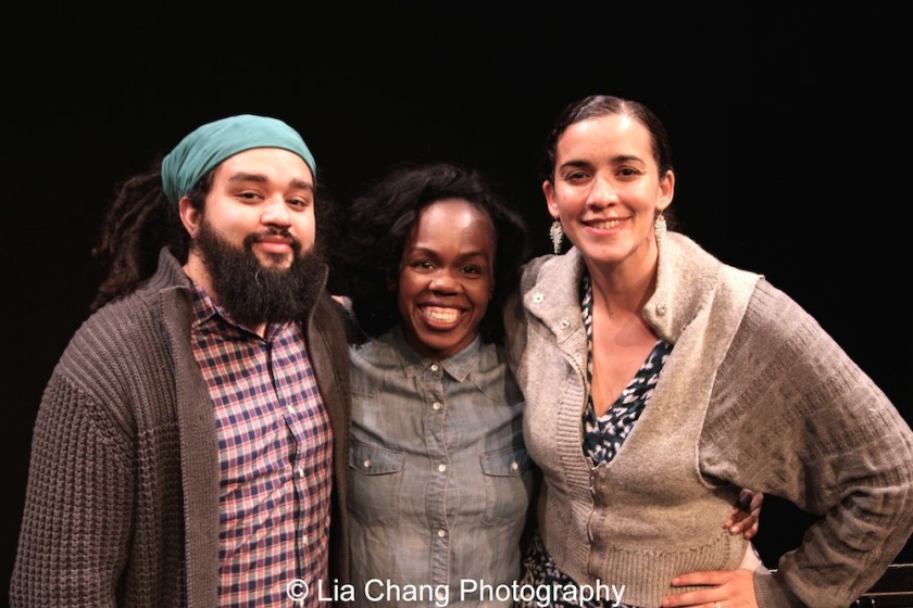 Playwrights Nathan Alan Davis, Ngozi Anyanwu and director Patricia McGregor. Photo by Lia Chang