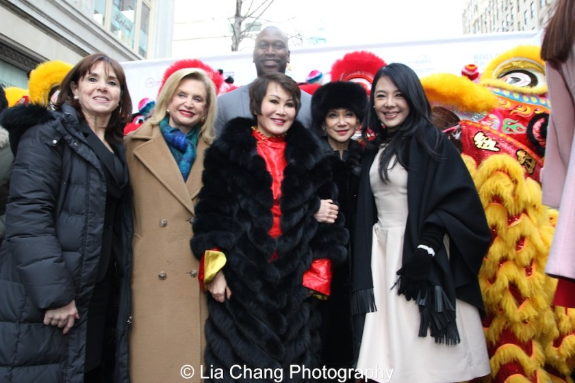 """SUNY's Confucius Institute for Business, Director of Global Affairs,Dr. Maryalice Mazzara; Rep. Carolyn Maloney; Emmy-winning TV personality and entrepreneur, Yue-Sai Kan; Sr. Vice President & International Publishing Director, Hearst Magazines International, Jeannette Chang; Chair of the Bund Association for Promotion of Commerce & Trade, Michelle Lee; and NYC Department of Small Business Services Commissioner Gregg Bishop at """"Madison Street to Madison Avenue"""" Lunar New Year Celebration on Feb. 6, 2016 in New York City. Photo by Lia Chang"""