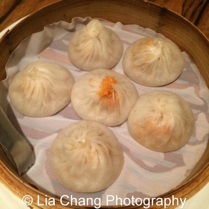 Steamed Crab Meat Pork Xiao Long Bao at The Bao in New York. Photo by Lia Chang