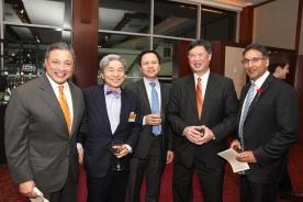 A.B. Cruz III, Ko-Yung Tung, a guest, Judge Denny Chin, Neal Katyal at the AALDEF lunar new year gala at PIER SIXTY, Chelsea Piers in New York City on February 16, 2016. Photo by Lia Chang