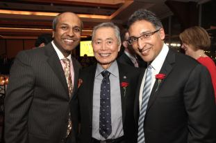 Sree Sreenivasan, George Takei and Neal Katyal at the AALDEF lunar new year gala at PIER SIXTY, Chelsea Piers in New York City on February 16, 2016. Photo by Lia Chang