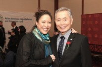 Cindy Hsu and George Takei at the AALDEF lunar new year gala at PIER SIXTY, Chelsea Piers in New York City on February 16, 2016. Photo by Lia Chang