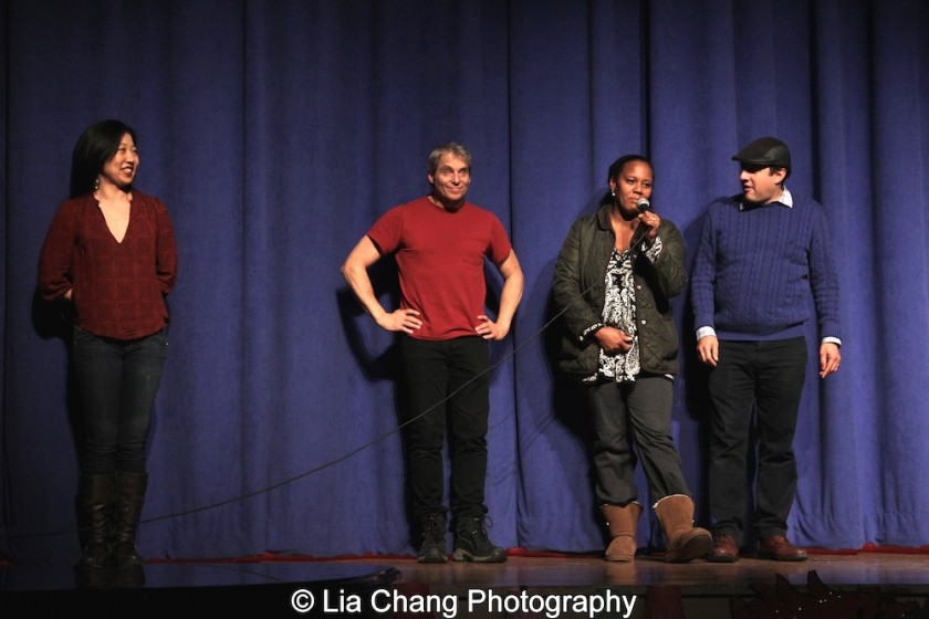Co-chairs of PS 87 Culture & Community Committee: Lainie Sakakura, Alex Sanchez, Regine and Henry Vincent Bonet at the P.S. 87 Pan Asian Lunar New Year Celebration at the William T Sherman School in New York on January 29, 2016. Photo by Lia Chang