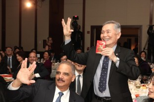 Eric H. Holder and George Takei live long and prosper at the AALDEF lunar new year gala at PIER SIXTY, Chelsea Piers in New York City on February 16, 2016. Photo by Lia Chang