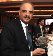 2016 Justice in Action Award honoree Eric H. Holder, Jr. at the AALDEF lunar new year gala at PIER SIXTY, Chelsea Piers in New York City on February 16, 2016. Photo by Lia Chang