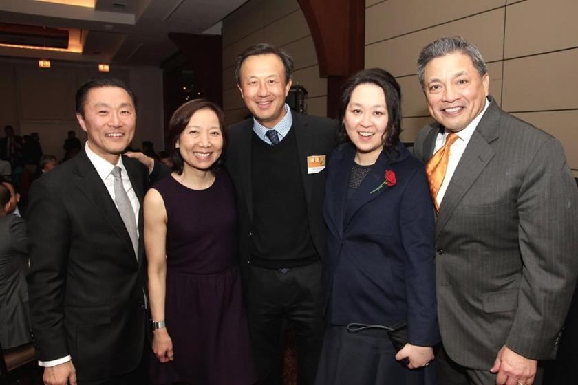 General Counsels and AALDEF Justice in Action Honorees Don H. Liu (2005), Sandra Leung (2009), John Kuo (2015), Heidi C. Chen (2016) and A.B. Cruz III (2011) at the AALDEF lunar new year gala at PIER SIXTY, Chelsea Piers in New York City on February 16, 2016. Photo by Lia Chang