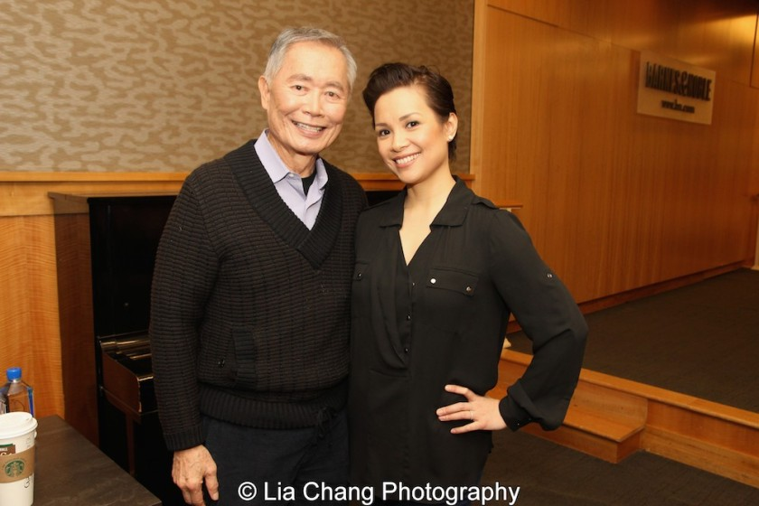George Takei and Lea Salonga celebrate the release of the ALLEGIANCE Original Cast recording at the Barnes and Noble CD Signing event in New York on Feb. 5, 2016. Photo by Lia Chang