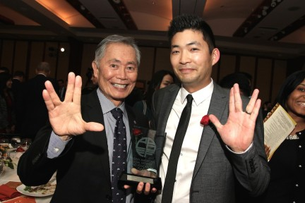 George Takei and Phil Yu at the AALDEF lunar new year gala at PIER SIXTY, Chelsea Piers in New York City on February 16, 2016. Photo by Lia Chang