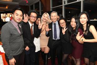 George Takei and members of RAISE, Undocumented youth-led group on the East Coast organizing to reimagine justice and demand liberation for immigrants in America at the AALDEF lunar new year gala at PIER SIXTY, Chelsea Piers in New York City on February 16, 2016. Photo by Lia Chang