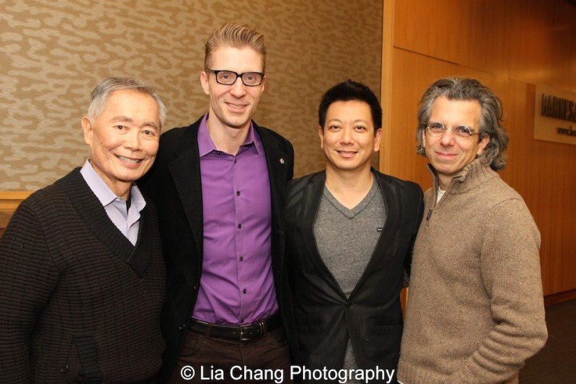 George Takei, Lorenzo Thione, Jay Kuo and Marc Acito celebrate the release of the ALLEGIANCE Original Cast recording at the Barnes and Noble CD Signing event in New York on Feb. 5, 2016. Photo by Lia Chang