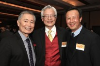 George Takei, Parkin Lee and John Kuo at the AALDEF lunar new year gala at PIER SIXTY, Chelsea Piers in New York City on February 16, 2016. Photo by Lia Chang