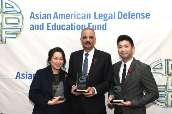 AALDEF 2016 Justice in Action award recipients Heidi C. Chen, Eric H. Holder and Phil Yu at the AALDEF lunar new year gala at PIER SIXTY, Chelsea Piers in New York City on February 16, 2016. Photo by Lia Chang