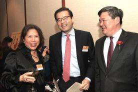 AALDEF board members Irene Chang-Cimino, Richard K. Kim and Tommy Shi at PIER SIXTY, Chelsea Piers in New York City on February 16, 2016. Photo by Lia Chang