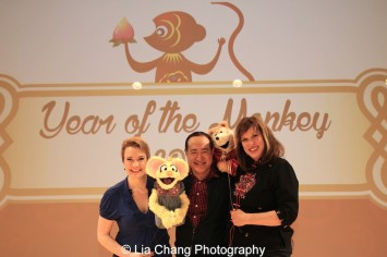 Sesame Street's Jennifer Barnhart, Alan Muraoka and Pam Arcerio at the Metropolitan Museum of Art's annual Lunar New Year festival on February 6, 2016 in New York. Photo by Lia Chang