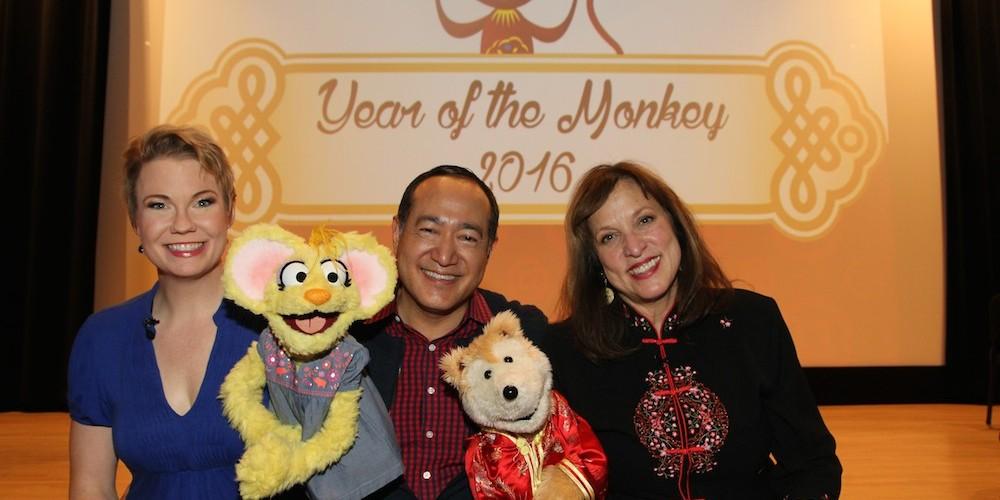 Sesame Street's Jennifer Barnhart, Alan Muraoka and Pam Arcerio at the Metropolitan Museum of Art's annual Lunar New Year festival on February 6, 2016 in New York. Photo by Lia Chang