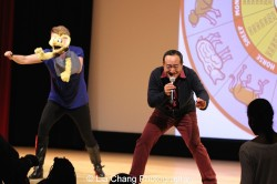 Sesame Street's Jennifer Barnhart and Alan Muraoka at the Metropolitan Museum of Art's annual Lunar New Year festival on February 6, 2016 in New York. Photo by Lia Chang