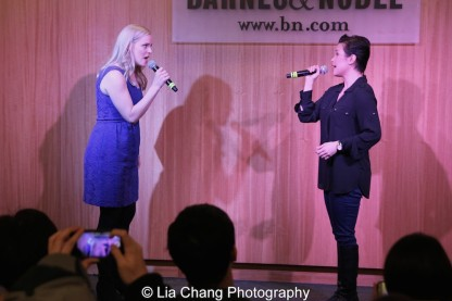 "Katie Rose Clarke and Lea Salonga sing ""Stronger Than Before"" to celebrate the release of the ALLEGIANCE Original Cast recording at the Barnes and Noble CD Signing event in New York on Feb. 5, 2016. Photo by Lia Chang"