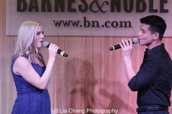 "Katie Rose Clarke and Telly Leung sing ""With You"" to celebrate the release of the ALLEGIANCE Original Cast recording at the Barnes and Noble CD Signing event in New York on Feb. 5, 2016. Photo by Lia Chang"