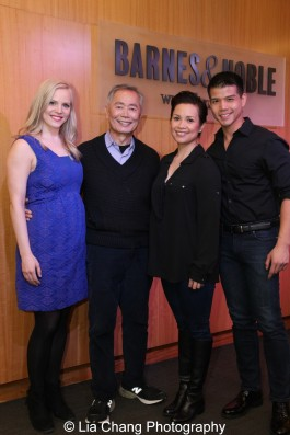 Katie Rose Clarke, George Takei, Lea Salonga and Telly Leung attend the ALLEGIANCE live performance and CD Signing at Barnes and Noble in New York on Feb. 5, 2016. Photo by Lia Chang
