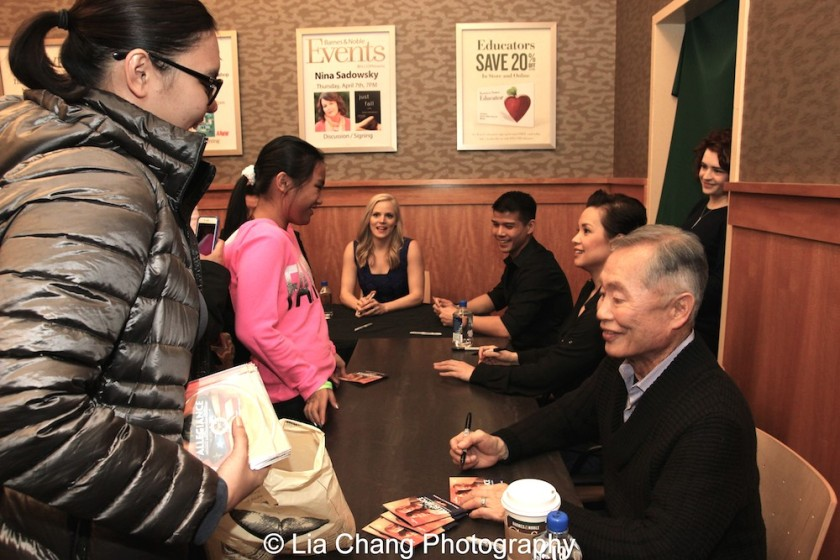 Katie Rose Clarke, Telly Leung, Lea Salonga and George Takei sign the ALLEGIANCE Original Cast Recording at Barnes and Noble in New York on February 5, 2016. Photo by Lia Chang
