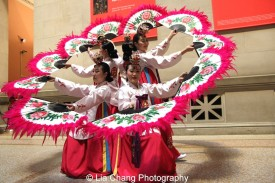 Korean Performing Arts Center dancers at the Metropolitan Museum of Art's annual Lunar New Year festival on February 6, 2016 in New York. Photo by Lia Chang