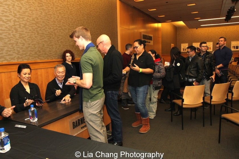 Lea Salonga and George Takei signs the ALLEGIANCE Original Cast Recording at Barnes and Noble in New York on February 5, 2016. Photo by Lia Chang