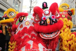 "Lion dancers at ""Madison Street to Madison Avenue"" Lunar New Year Celebration on Feb. 6, 2016 in New York City. Photo by Lia Chang"