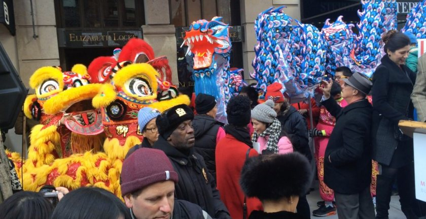 """Lion dancers and dragon dancers at """"Madison Street to Madison Avenue"""" Lunar New Year Celebration on Feb. 6, 2016 in New York City. Photo by Lia Chang"""