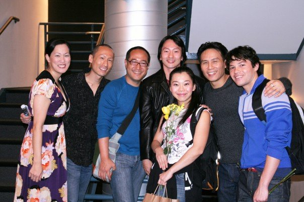 MaryAnn Hu, Francis Jue, Alan Muraoka, Michael K. Lee, Yuka Takara, BD Wong and Jason Tam after the opening night performance of NYMF's production of 'The Yellow Wood' at at Theatre Row's Acorn Theatre in New York on September 19, 2007. Photo by Lia Chang
