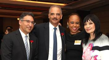 Neal Katyal, Eric H. Holder, AALDEF board member Gail J. Wright Sirmans and AALDEF Executive Director Margaret Fung at Covington & Burling LLP with actor and activist George Takei, a 1992 Justice in Action Award recipient at the AALDEF lunar new year gala at PIER SIXTY, Chelsea Piers in New York City on February 16, 2016. Photo by Lia Chang