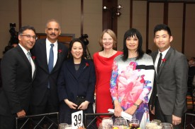 Neal Katyal, Eric H. Holder, Heidi C. Chen, Louise Parent, Margaret Fung and Phil Yu at the AALDEF lunar new year gala at PIER SIXTY, Chelsea Piers in New York City on February 16, 2016. Photo by Lia Chang