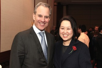 NY Attorney General Eric T. Schneiderman and Heidi C. Chen at the AALDEF lunar new year gala at PIER SIXTY, Chelsea Piers in New York City on February 16, 2016. Photo by Lia Chang