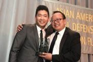 Phil Yu, founder and editor of Angry Asian Man was presented the 2016 AALDEF Justice in Action award by Jeff Yang, columnist for Wall Street Journal, at the AALDEF lunar new year gala at PIER SIXTY, Chelsea Piers in New York City on February 16, 2016. Photo by Lia Chang