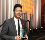 2016 Justice in Action Award recipient Phil Yu, founder and editor of Angry Asian Man at the AALDEF lunar new year gala at PIER SIXTY, Chelsea Piers in New York City on February 16, 2016. Photo by Lia Chang