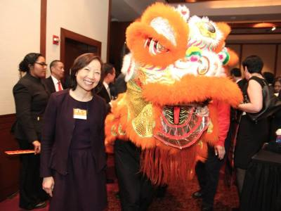 Sandra Leung at the AALDEF lunar new year gala at PIER SIXTY, Chelsea Piers in New York City on February 16, 2016. Photo by Lia Chang
