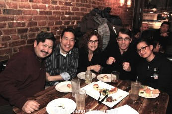 Scott Watanabe, Darren Lee, Elizabeth Parkinson and her husband Scott Wise, and Lea Salonga. Photo by Lia Chang