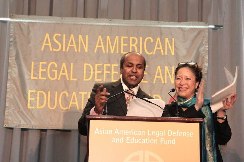 Sree Sreenivasan, chief digital officer at The Metropolitan Museum of Art, and Cindy Hsu, anchor and reporter at CBS2 News, co-emceed the AALDEF lunar new year gala at PIER SIXTY, Chelsea Piers in New York City on February 16, 2016. Photo by Lia Chang