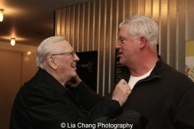 "Len Cariou is congratulated by his ""Blue Bloods"" co-star Gregory Jbara after his performance of BROADWAY AND THE BARD. Photo by Lia Chang"