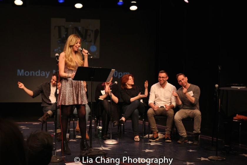 Nikko Benson, Emily McNamara, Sarah Ziegler Kate Chadwick, Lisa DeSpain,Benjamin Halstead and Garth Kravits. Photo by Lia Chang