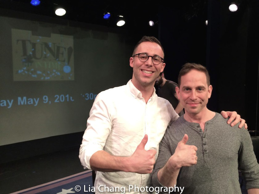 Benjamin Halstead and Garth Kravits win the Tune in Time Musical Theater Game Show competition at the York Theatre in New York on March 14, 2016. Photo by Lia Chang