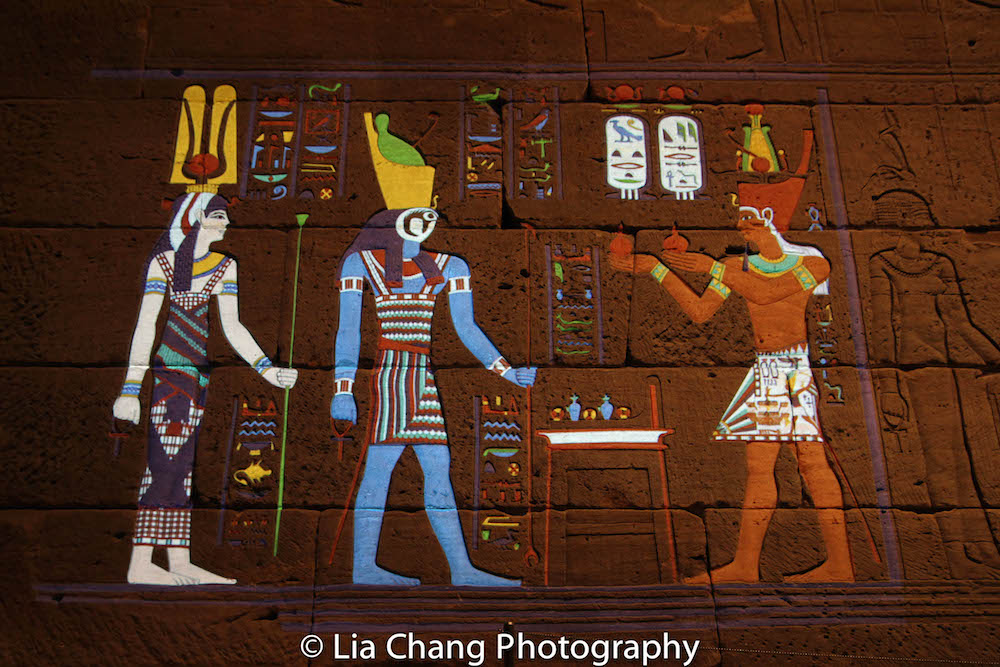 """Color the Temple: Scene 1"" shows, through digital projection mapping, how the original colors of the Temple of Dendur would have looked. Photo by Lia Chang"