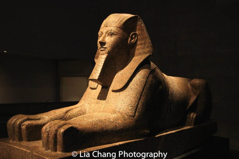 Sphinx of Hatshepsut, beside Temple of Dendur, Metropolitan Museum of Art. Dynasty 18, 1473-1458 BC, from the joint reign of Hatshepsut and Thutmose III. Photo by Lia Chang