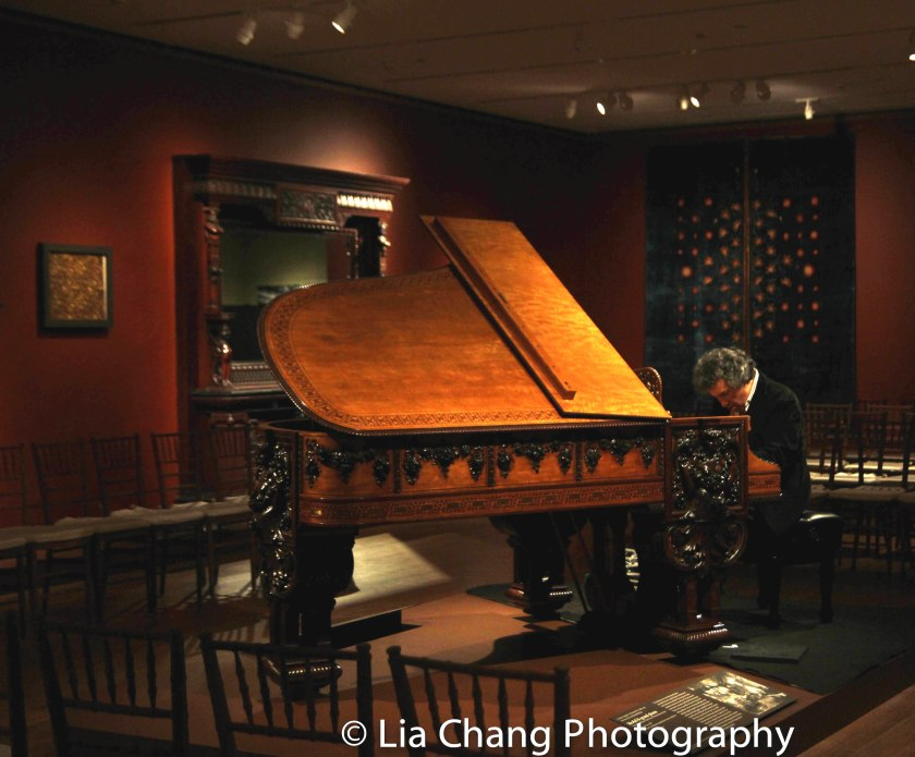 "Pianist John Davis rehearsing for his concert ""Songs and Stories from the American Parlor,"" on the George A. Schastey & Co. (1873–97), Model B grand piano by Steinway and Sons from the William Clark House, Newark, New Jersey, 1882. Collection of Paul Manganaro. Photo by Lia Chang"