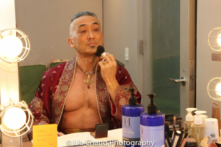 Paul Nakauchi transforms into the King in his dressing room at the Vivian Beaumont Theater in New York on Mar. 3, 2016. Photo by Lia Chang