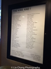 The cast list for THE KING AND I. Photo by Lia Chang