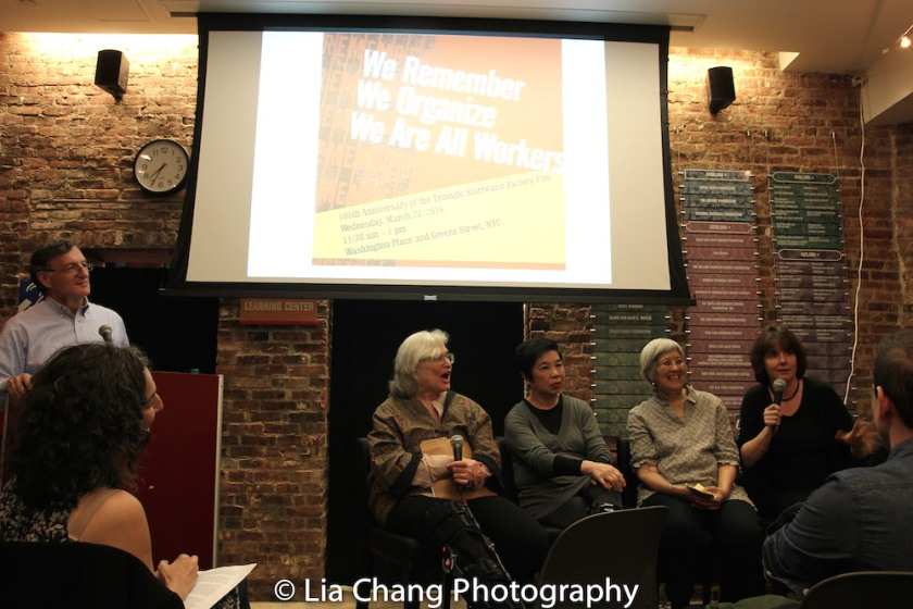 Steven Greenhouse, former labor reporter for the New York Times, Hasia Diner, NYU professor of Hebrew and Judaic studies and history; Katie Quan from the Labor Center at Berkeley, who was a seamstress, organizer, and international vice -president with the ILGWU; May Chen, a labor organizer who has been actively engaged in outreach and advocacy for immigrant workers for more than 20 years, working with the International Ladies' Garment Workers' Union and Mary Anne Trasciatti, president of the Remember the Triangle Fire Coalition, at the Lower East Side Tenement Museum in New York on March 8, 2016. Photo by Lia Chang