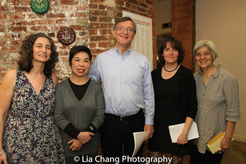 Annie Polland, Senior Vice President, Education & Programs of the Lower East Side Tenement Museum; Katie Quan from the Labor Center at Berkeley, who was a seamstress, organizer, and international vice -president with the ILGWU; Steven Greenhouse, former labor reporter for the New York Times; Mary Anne Trasciatti, president of the Remember the Triangle Fire Coalition; and May Chen, a labor organizer who has been actively engaged in outreach and advocacy for immigrant workers for more than 20 years, working with the International Ladies' Garment Workers' Union at the Lower East Side Tenement Museum in New York on March 8, 2016. Photo by Lia Chang